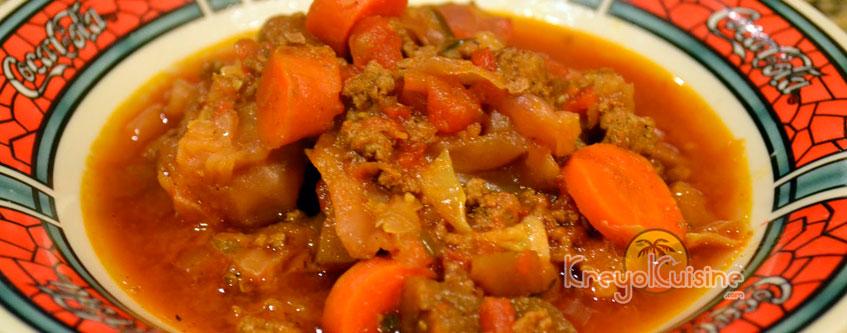 Haitian Food Legume beef and Eggplant Legume